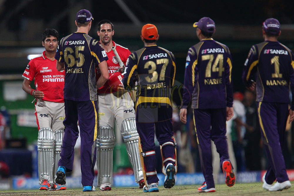 Mitchell Johnson of the Kings X1 Punjab shakes hands after the match during the first qualifier match (QF1) of the Pepsi Indian Premier League Season 2014 between the Kings XI Punjab and the Kolkata Knight Riders held at the Eden Gardens Cricket Stadium, Kolkata, India on the 28th May  2014<br /> <br /> Photo by Ron Gaunt / IPL / SPORTZPICS<br /> <br /> <br /> <br /> Image use subject to terms and conditions which can be found here:  http://sportzpics.photoshelter.com/gallery/Pepsi-IPL-Image-terms-and-conditions/G00004VW1IVJ.gB0/C0000TScjhBM6ikg