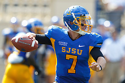 September 24, 2011; San Jose, CA, USA;  San Jose State Spartans quarterback Matt Faulkner (7) passes against the New Mexico State Aggies during the third quarter at Spartan Stadium. San Jose State defeated New Mexico State 34-24.