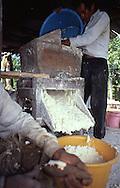 En la foto se observa parte del proceso para la preparación del casabe.  En principio, se pela, se lava y se ralla la yuca. Luego con una prensa se le saca todo el veneno. La pulpa que queda se pasa por un colador. Se obtiene una harina fina que se coloca sobre una plancha caliente (budare). Finalmente, una vez cocido, se pone el casabe al sol. 1996. (Ramón Lepage / Orinoquiaphoto)  In the photo, a part of the process for preparation of the casabe. At first,the yucca is peeled, washed and striped. Then, with a press the whole poison is extracted. The flesh passes for a colander. There is obtained a thin flour that is placed on a warm plate (budare). Finally, once stew, the casabe puts to the Sun. 1996. (Ramon Lepage / Orinoquiaphoto)
