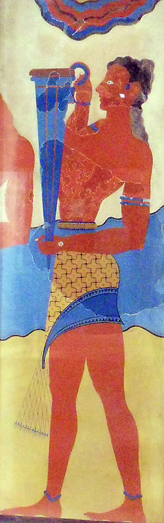 Reproduction of the 'Cupbearer' fresco. watercolour on paper. Minoan, Late Minoan II-IIIAca. 1450-1300 B.C.by By Emile Gilliéron, père, 1908. The 'Cupbearer' fresco was the first portrayal of an ancient Cretan to be discovered during Evans's excavations at Knossos. The figure holds a large conical rhyton or ritual vessel used to pour libations