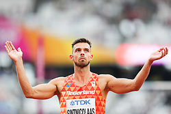 London, August 11 2017 . Eelco Sintnicolaas, Netherlands, in the men's decathlon high jump on day eight of the IAAF London 2017 world Championships at the London Stadium. © Paul Davey.