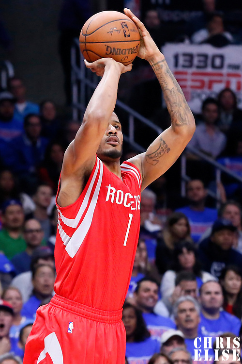 14 May 2015: Houston Rockets forward Trevor Ariza (1) takes a jump shot during the Houston Rockets 119-107 victory over the Los Angeles Clippers, in game 6 of the Western Conference semifinals, at the Staples Center, Los Angeles, California, USA.