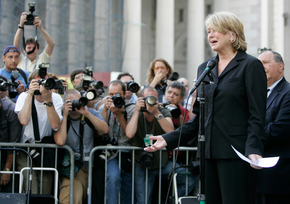 US business woman Martha Stewart, speaks outside the Manhattan Federal Court after sentencing, New York, Friday, 16 July 2004, Stewart was sentenced to 5 months in federal prison. EPA/Andrew Gombert