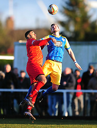 TOM WARD KINGS LYNN HOLDS OF KETTERING RENE HOWE, Kettering Town FC v Kings Lynn Town FC Evo stk Southern Premier League, Latimer Park Monday New Years Day 1st January 2018.<br /> Photo:Mike Capps, Score 1-0 (Aaron O'Connor) Kettering go top of Table
