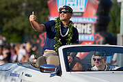 Aug 3, 2019; Canton, OH, USA; Kevin Mawae during the Pro Football Hall of Fame Grand Parade on Cleveland Ave. in Downtown Canton. (Robin Alam/Image of Sport)