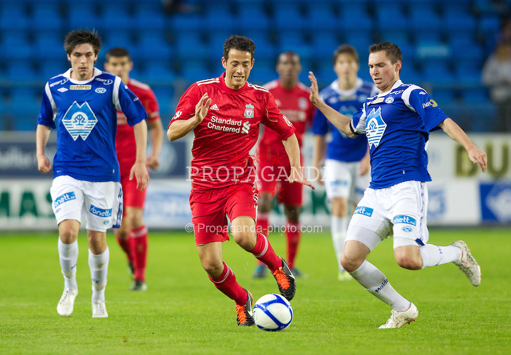 MOLDE, NORWAY - Wednesday, September 7, 2011: Liverpool's Kristian Adorjan in action against Molde during the second NextGen Series Group 2 match at Aker Stadion. (Photo by Vegard Grott/Propaganda)