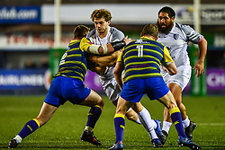 Richie Gray of Toulouse is tackled by Matthew Rees of Cardiff Blues - Mandatory by-line: Craig Thomas/JMP - 14/01/2018 - RUGBY - BT Sport Cardiff Arms Park - Cardiff, Wales - Cardiff Blues v Toulouse - European Rugby Challenge Cup