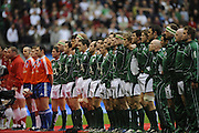 Twickenham. Great Britain, Six Nations Rugby, Both teams line up for the National Anythems before the England vs Ireland, at the RFU Stadium, 25/08/2007  [Mandatory Credit. Peter Spurrier/Intersport Images]