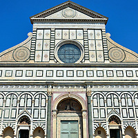 """Basilica of Saint Maria Novella in Florence, Italy<br /> The word """"novella"""" means """"new"""" but that's a relative term because the Basilica of Saint Maria Novella is the oldest church in Florence.  It was considered finished in 1360 but the Dominican friars continued enhancing it until 1470 … 250 years after construction started.  An historic footnote is that the large square in front of the Roman Catholic church hosted an annual chariot race called Palio dei Cocchi from the mid-16th until the late 19th centuries."""