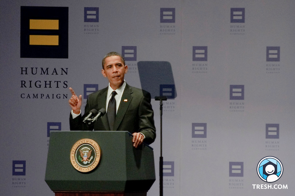President Barack Obama speaks at the 13th Annual HRC National Dinner, Saturday, October 10, 2009, in Washington, D.C.