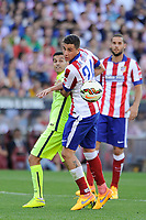 Atletico de Madrid´s Gimenez and FC Barcelona´s Pedro Rodriguez during 2014-15 La Liga match between Atletico de Madrid and FC Barcelona at Vicente Calderon stadium in Madrid, Spain. May 17, 2015. (ALTERPHOTOS/Luis Fernandez)