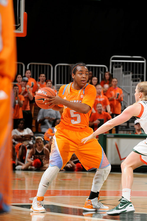 November 18, 2012: Ariel Massengale #5 of the Tennessee Volunteers in action during the NCAA basketball game between the Miami Hurricanes and the Tennessee Volunteers at the Bank United Center in Coral Gables, FL. The Volunteers defeated the Hurricanes 79-67.