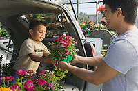 Father passing flowers to son in back of minivan at plant nursery