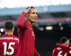 LIVERPOOL, ENGLAND - Saturday, November 30, 2019: Liverpool's Virgil van Dijk celebrates scoring the second goal, his second of the game, during the FA Premier League match between Liverpool FC and Brighton & Hove Albion FC at Anfield. Liverpool won 2-1. (Pic by David Rawcliffe/Propaganda)