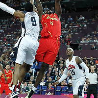 12 August 2012: Spain Serge Ibaka goes for the dunk over USA ANdre Iguodala during 107-100 Team USA victory over Team Spain, during the men's Gold Medal Game, at the North Greenwich Arena, in London, Great Britain.