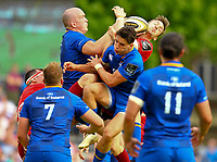 Rugby Union - 2018 Guiness Pro14 - Semi-Final: Leinster vs. Munster<br /> <br /> Darren Sweetnam (Munster) and Devin Toner (Leinster) challenge for a ball, at RDS Arena, Dublin.<br /> <br /> COLORSPORT/KEN SUTTON