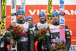 March 9, 2019 - Oslo, NORWAY - 190309 Robert Johansson, Marius Lindvik, Robin Pedersen and Johann Andre Forfang of Norway celebrate at the podium after men team competition during the FIS Ski-Jumping World Cup on March 9, 2019 in Oslo..Photo: Fredrik Varfjell / BILDBYRÃ…N / kod FV / 150213. (Credit Image: © Fredrik Varfjell/Bildbyran via ZUMA Press)