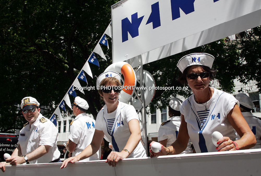 NZI staff dress as sailors. NZI Sevens Parade, Wellington. New Zealand, Thursday 31 January 2008. Photo: Renee McKay