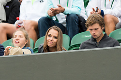 LONDON, ENGLAND - Monday, July 4, 2016:  Jiri Vesely (CZE) girlfriend during the Gentlemen's Single 4th Round match on day eight of the Wimbledon Lawn Tennis Championships at the All England Lawn Tennis and Croquet Club. (Pic by Kirsten Holst/Propaganda)