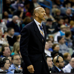February 12, 2011; New Orleans, LA, USA; New Orleans Hornets head coach Monty Williams against the Chicago Bulls during the third quarter at the New Orleans Arena.  The Bulls defeated the Hornets 97-88. Mandatory Credit: Derick E. Hingle