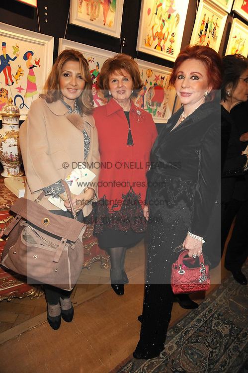 Left to right, MRS NIKOLAS LEMOS, MRS SHEKERDEMIAN and CHYSANTHY LEMOS at an exhibition of Countess Flamburiari's paintings entitled 'Come to the Circus' held at Partridges Fine Art, Bond Street, London on 2nd December 2008.