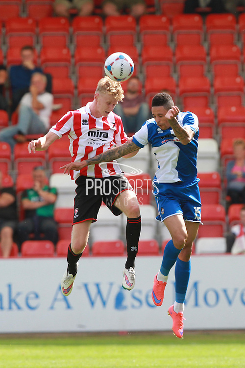 George McLennan and Daniel Leadbetter during the Pre-Season Friendly match between Cheltenham Town and Bristol Rovers at Whaddon Road, Cheltenham, England on 25 July 2015. Photo by Antony Thompson.
