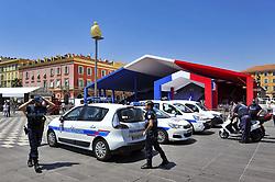 July 13, 2017 - Securite attentat de Nice - Police place Massena devant le chapiteau ou aura lieu l hommage le 14 juillet (Credit Image: © Panoramic via ZUMA Press)