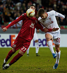KAZAN, RUSSIA - Thursday, November 5, 2015: Liverpool's Adam Lallana in action against Rubin Kazan's Majored Ozdoev during the UEFA Europa League Group Stage Group B match at the Kazan Arena. (Pic by Oleg Nikishin/Propaganda)