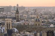 France. Paris. elevated view. l'institut, Saint Germain l'Auxerrois and Saint Germain des pres church, view from Saint Eustache church bell tower