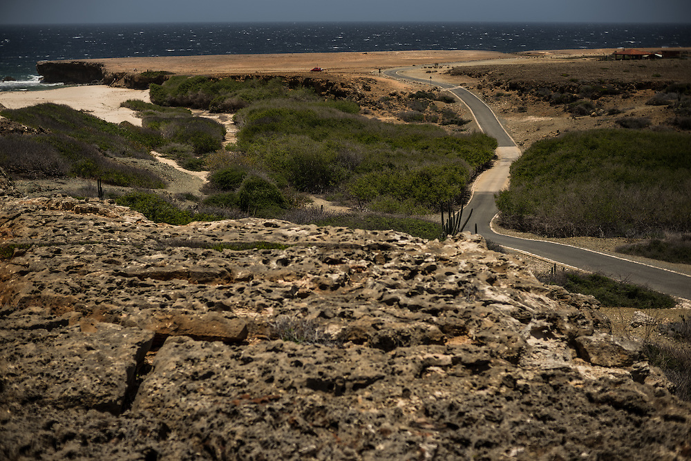 ARUBA - The island's rugged desert landscape of cacti, rocks and sand dunes are the view driving through Arikok National Park. PHOTO: Meridith Kohut for The New York Times
