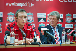 LIVERPOOL, ENGLAND - Tuesday, July 27, 2010: Liverpool FC's new signing Danny Wilson with manager Roy Hodgson during a press conference at Anfield. (Pic by David Tickle/Propaganda)