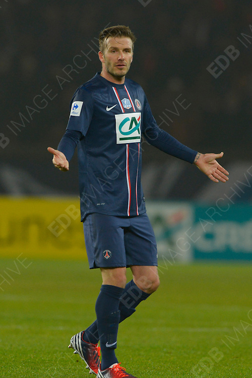 27.FEBRUARY.2013. PARIS<br /> <br /> DAVID BECKHAM DURING THE FRENCH CUP 1/8 ROUND SOCCER MATCH, PARIS SAINT-GERMAIN VS OLLYMPIQUE DE MARSEILLE AT PARC DE PRINCES IN PARIS, FRANCE<br /> <br /> BYLINE: EDBIMAGEARCHIVE.CO.UK<br /> <br /> *THIS IMAGE IS STRICTLY FOR UK NEWSPAPERS AND MAGAZINES ONLY*<br /> *FOR WORLD WIDE SALES AND WEB USE PLEASE CONTACT EDBIMAGEARCHIVE - 0208 954 5968*