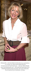 PENELOPE, VISCOUNTESS COBHAM at an exhibition in London on 22nd April 2002.OZD 43