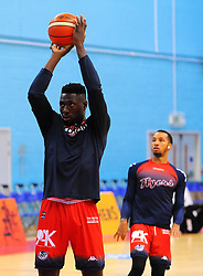 Daniel Edozie of Bristol Flyers warms up- Photo mandatory by-line: Nizaam Jones/JMP - 19/10/2019 - BASKETBALL - SGS Wise Arena - Bristol, England - Bristol Flyers v London Lions - British Basketball League Cup