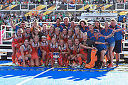 The Netherlands team smile with the trophy  during the Vitality Hockey Women's World Cup 2018 Finals Gold Medal match between the Netherlands and Ireland, at the Lee Valley Hockey and Tennis Centre, QE Olympic Park, United Kingdom on 5 August 2018. Picture by Martin Cole.