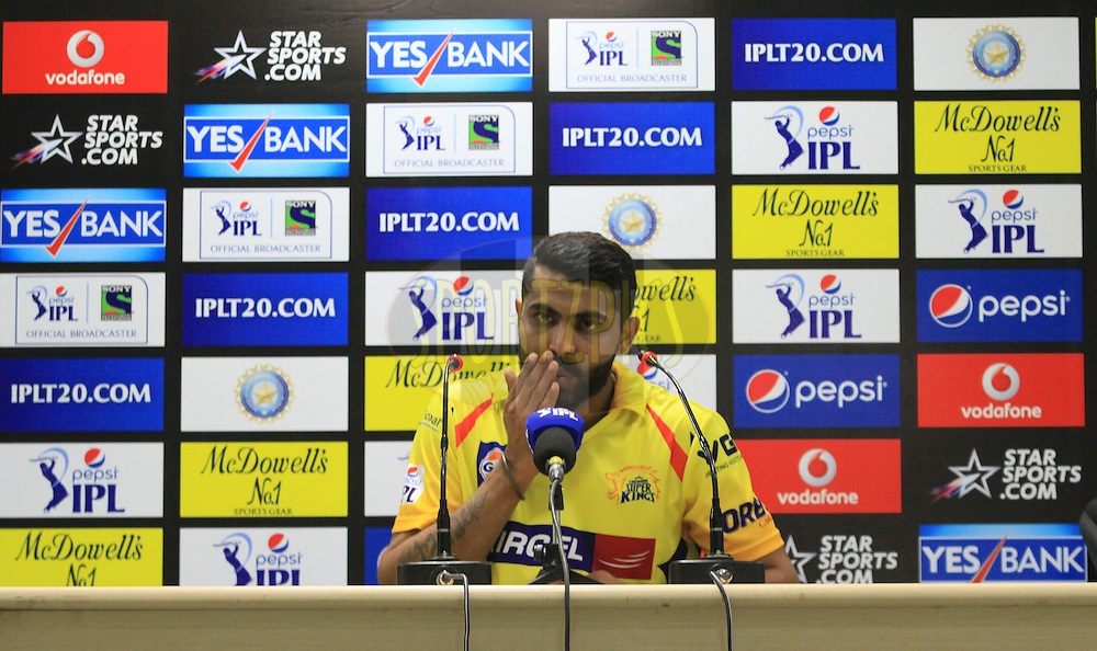Ravindra Jadeja of The Chennai Superkings during press conference after match 21 of the Pepsi Indian Premier League Season 2014 between the Chennai Superkings and the Kolkata Knight Riders  held at the JSCA International Cricket Stadium, Ranch, India on the 2nd May  2014<br /> <br /> Photo by Arjun Panwar / IPL / SPORTZPICS<br /> <br /> <br /> <br /> Image use subject to terms and conditions which can be found here:  http://sportzpics.photoshelter.com/gallery/Pepsi-IPL-Image-terms-and-conditions/G00004VW1IVJ.gB0/C0000TScjhBM6ikg