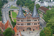 LUBECK, GERMANY - JULY 18, 2008: Aerial view to the Holstentor city gate in Lubeck, Germany.