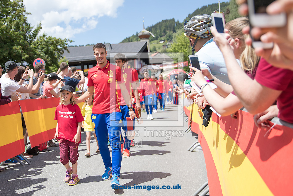 Alvaro Morata of Spain arrives at Lowen Hotel, Schruns, Austria.<br /> Picture by EXPA Pictures/Focus Images Ltd 07814482222<br /> 26/05/2016<br /> ***UK &amp; IRELAND ONLY***<br /> EXPA-GRO-160526-5000.jpg