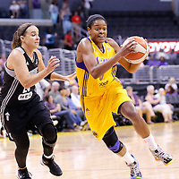22 June 2014: guard/forward Alana Beard (0) of the Los Angeles Sparks drives past guard Becky Hammon (25) of the San Antonio Stars during the San Antonio Stars 72-69 victory over the Los Angeles Sparks, at the Staples Center, Los Angeles, California, USA.