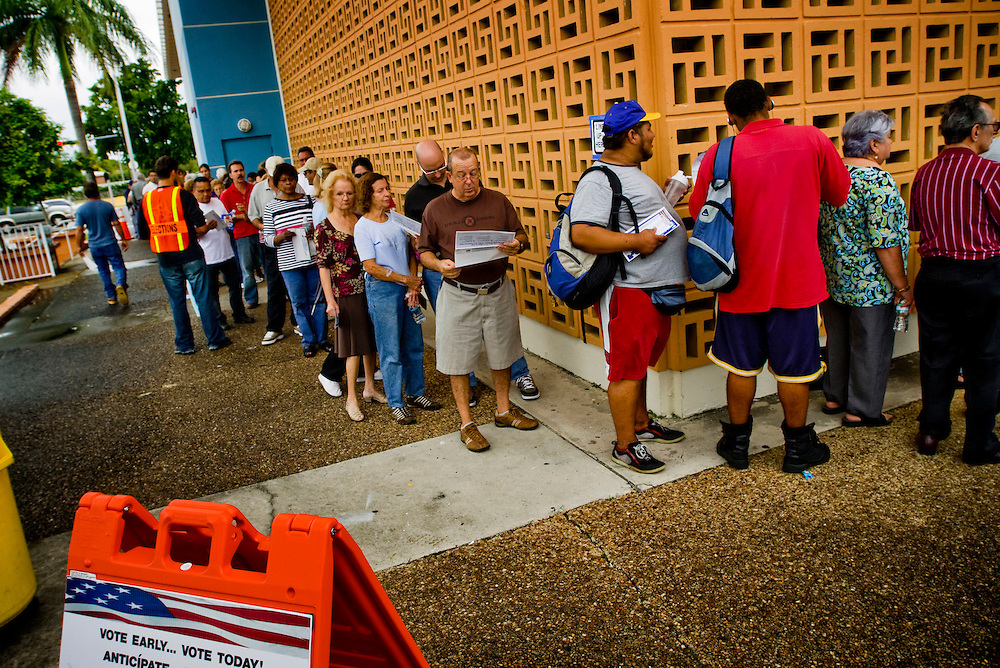 Early voting in Florida..Early voters in line outside the John F Kennedy library in Hialeah, waiting to vote..Photographer: Chris Maluszynski /MOMENT