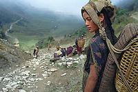 Nepal, young Chetri girl working as porter, Dorpatan area, West Nepal // Nepal, porteurs, Les routiers de l'Himalaya. Jeune fille Chetri travaillant comme porteuse, Nepal de l'Ouest, Dorpatan