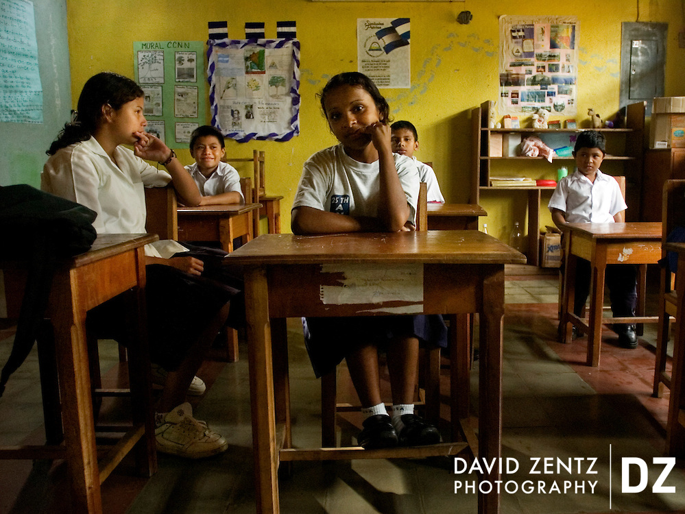 Children attend school in Masatepe, Nicaragua on October 6, 2004.