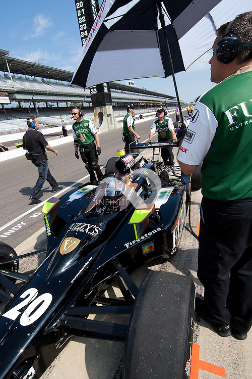 Ed Carpenter practices on Carb Day in the No. 20 Fuzzy's Ultra Premium Vodka special at the Indianapolis Motor Speedway in Indianapolis, Indiana..Photo by Michael Hickey, Infiniti Images Corporate event photography by Infiniti Images