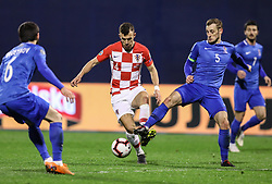 Zagreb, March 21, 2019  Ivan Perisic (L) of Croatia and Maksim Medvedev of Azerbaijan during the UEFA Euro 2020 group E qualifying match between Croatia and Azerbaijan at the Maksimir stadium in Zagreb, Croatia, on March 21, 2019. Croatia won 2:1. (Credit Image: © Jurica Galoic/Pixsell/Xinhua via ZUMA Wire)