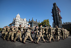 October 10, 2018 - London, London, UK - London, UK. 120 army personnel march through Parliament Square, led by the Band of the Grenadier Guards, to a ''welcome home'' reception in the Palace of Westminster, to highlight the breadth of the British Army's current activities. (Credit Image: © Tom Nicholson/London News Pictures via ZUMA Wire)