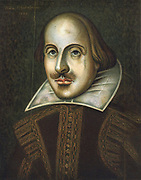 William Shakespeare (1564-1616) English playwright. Anonymous portrait in oils dated 1609. This is the portrait engraved by Droeshout for the First Folio of 1623