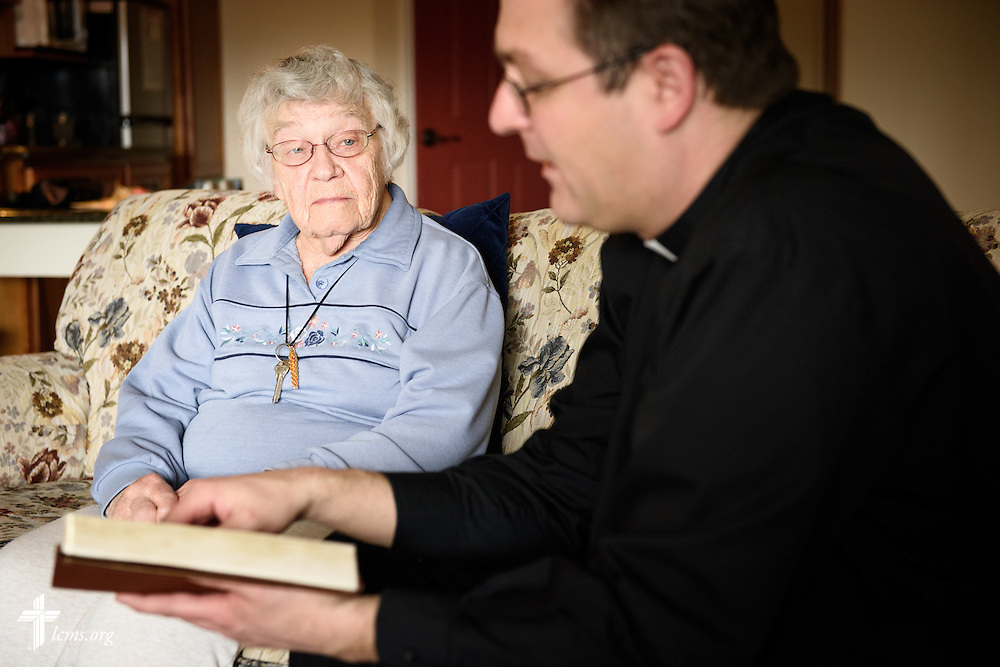 The Rev. Mark Nierman, pastor of Mount Olive Lutheran Church, visits homebound shut-in member Bernice Schumacher on Thursday, March 3, 2016, in Loveland, Colo. LCMS Communications/Erik M. Lunsford