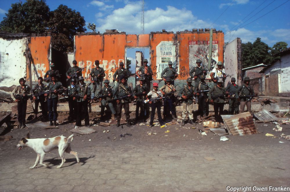 El Salvador guerillas,group portraint after taking a town