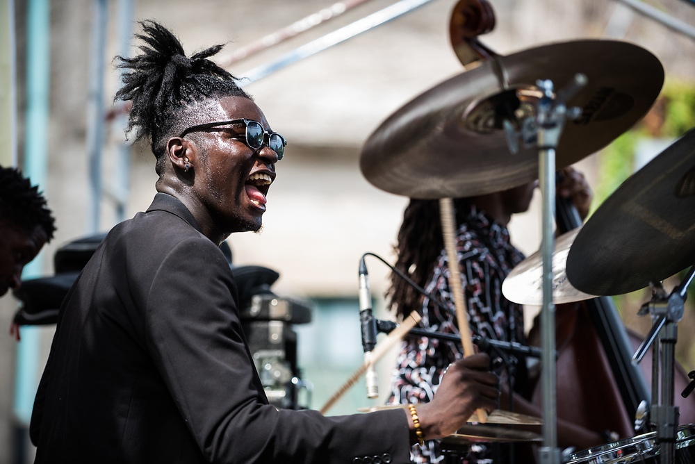 Jeremiah Collier performs with the AACM Great Black Music Ensemble at 63rd Street Beach for the 50th Anniversary of Kelan Phil Cohran's performance series, On the Beach, on July 9, 2017. Phil Cohran passed away just a week before the revival of the On The Beach series.