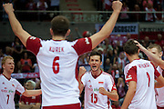 Lukasz Zygadlo from Poland celebrates winning point with his team mates during the 2013 CEV VELUX Volleyball European Championship match between Poland and Turkey at Ergo Arena in Gdansk on September 20, 2013.<br /> <br /> Poland, Gdansk, September 20, 2013<br /> <br /> Picture also available in RAW (NEF) or TIFF format on special request.<br /> <br /> For editorial use only. Any commercial or promotional use requires permission.<br /> <br /> Mandatory credit:<br /> Photo by &copy; Adam Nurkiewicz / Mediasport